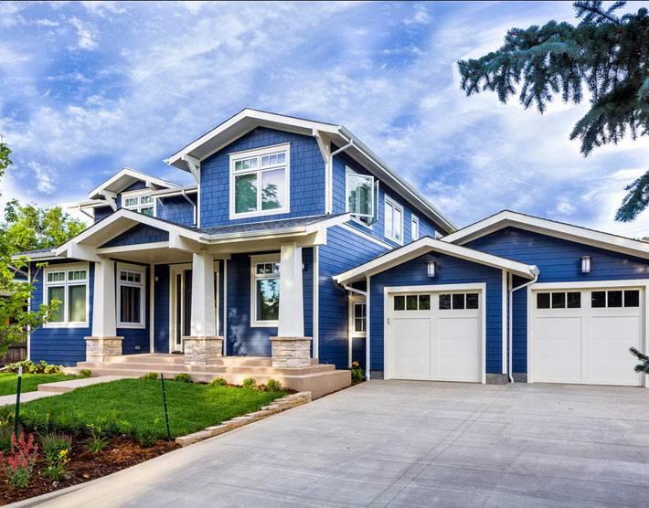 синяя фасадная краска для дома