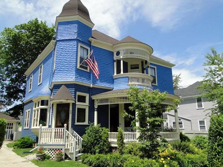 красивый синий дом фото