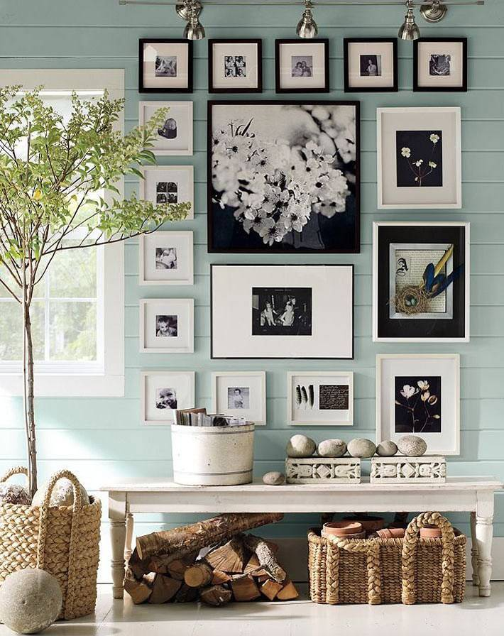 Фотографии и картины в одном коллаже в доме