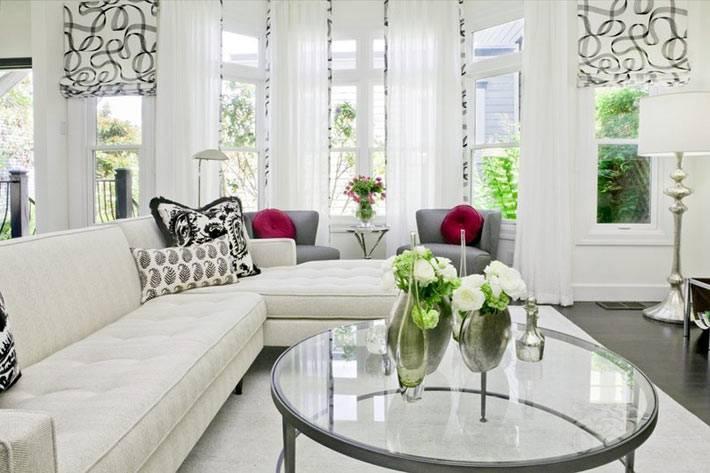 белый цвет в интерьере гостиной комнаты фото