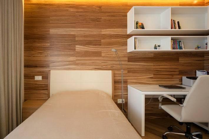 деревянные панели на стене спальни фото