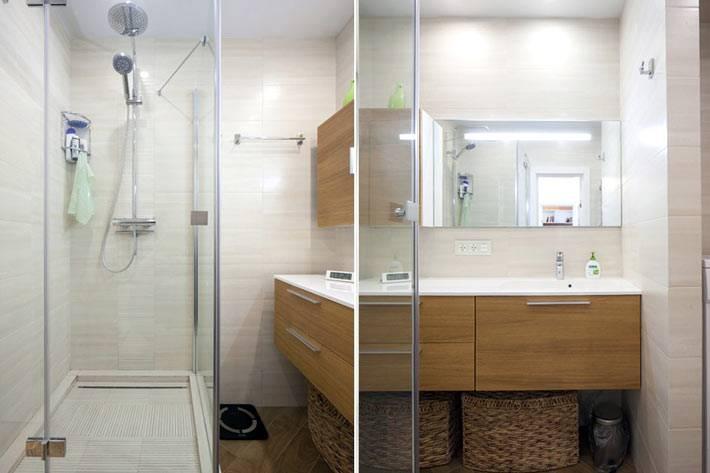 душевая кабина в ванной однокомнатной квартиры
