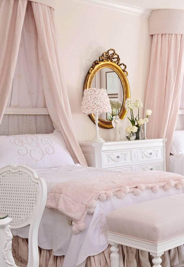 розовый цвет в интерьере романтической спальни для девочки