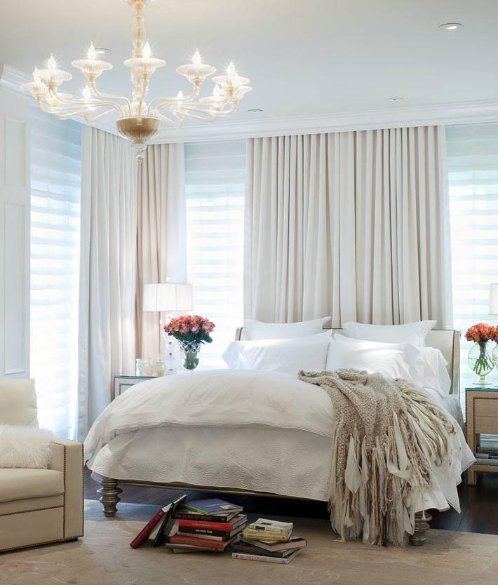 светлый дизайн красивой нежной спальни фото