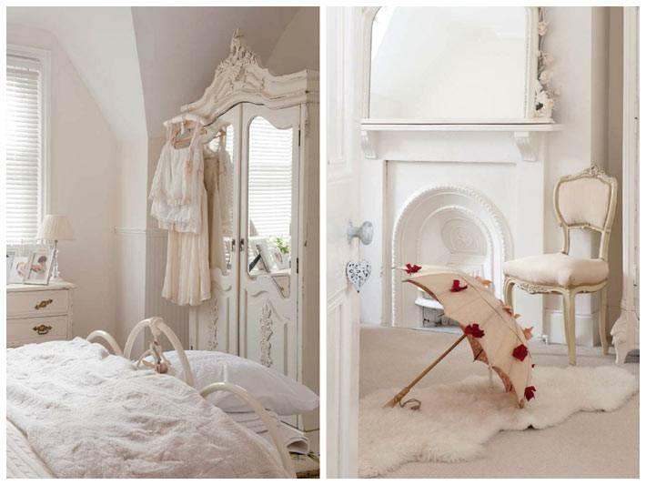 уютный интерьер в белом цвете в стиле шебби-шик фото