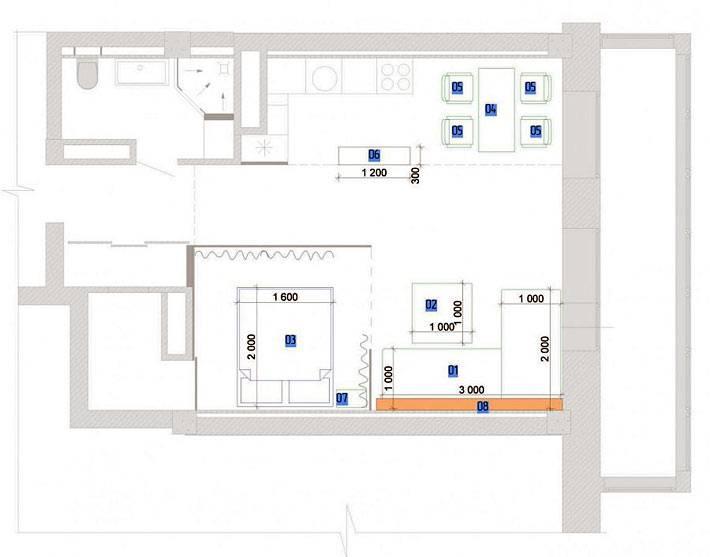 схематическое расположение комнат в квартире