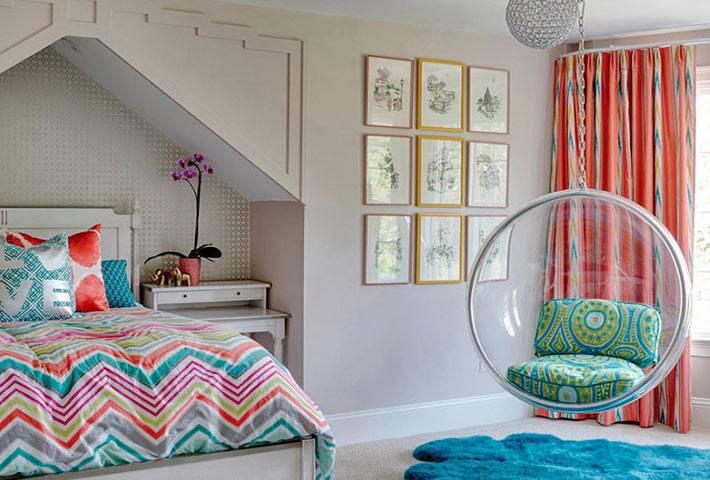 подвесное кресло в дизайне комнаты для подростка фото