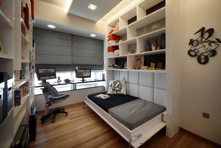 сдержанный дизайн подростковой комнаты для мальчика фото