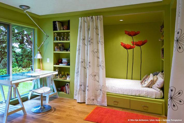 зеленый цвет в интерьере подростковой комнаты фото