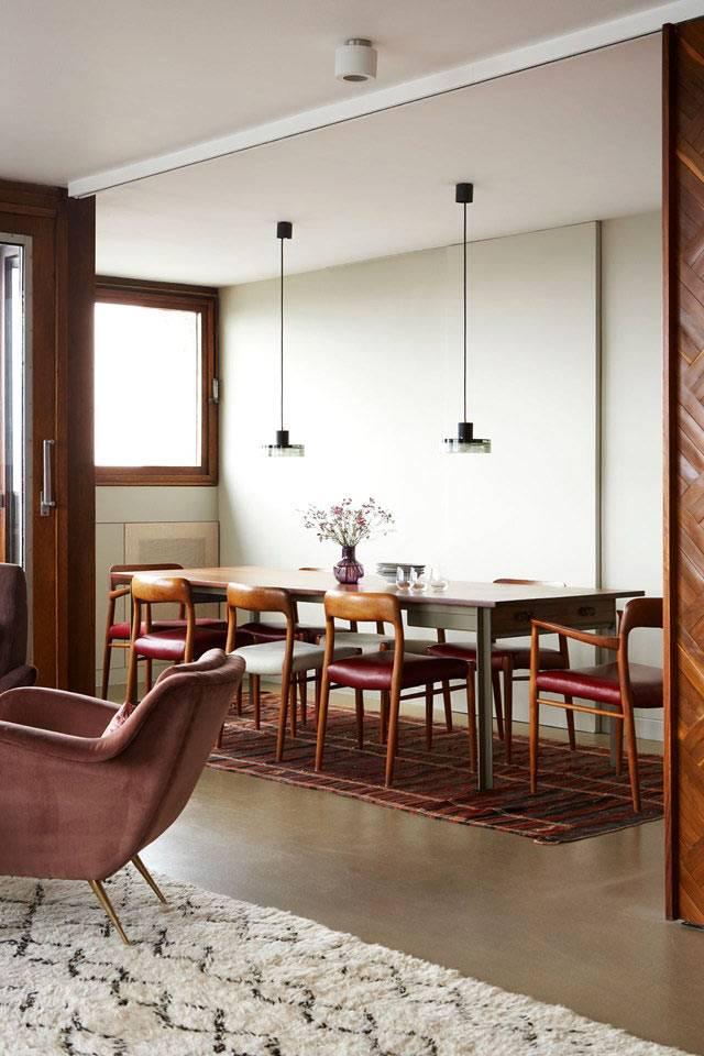 винтажная столовая мебель в интерьере квартиры в лондоне