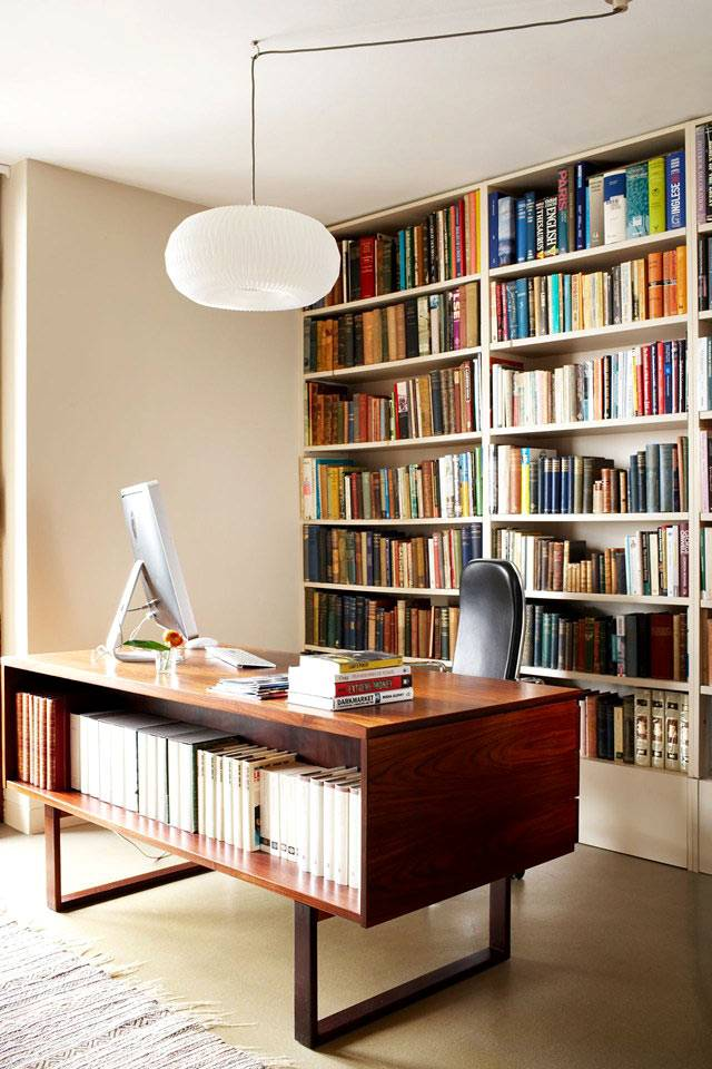 интерьер рабочего кабинета с библиотекой фото