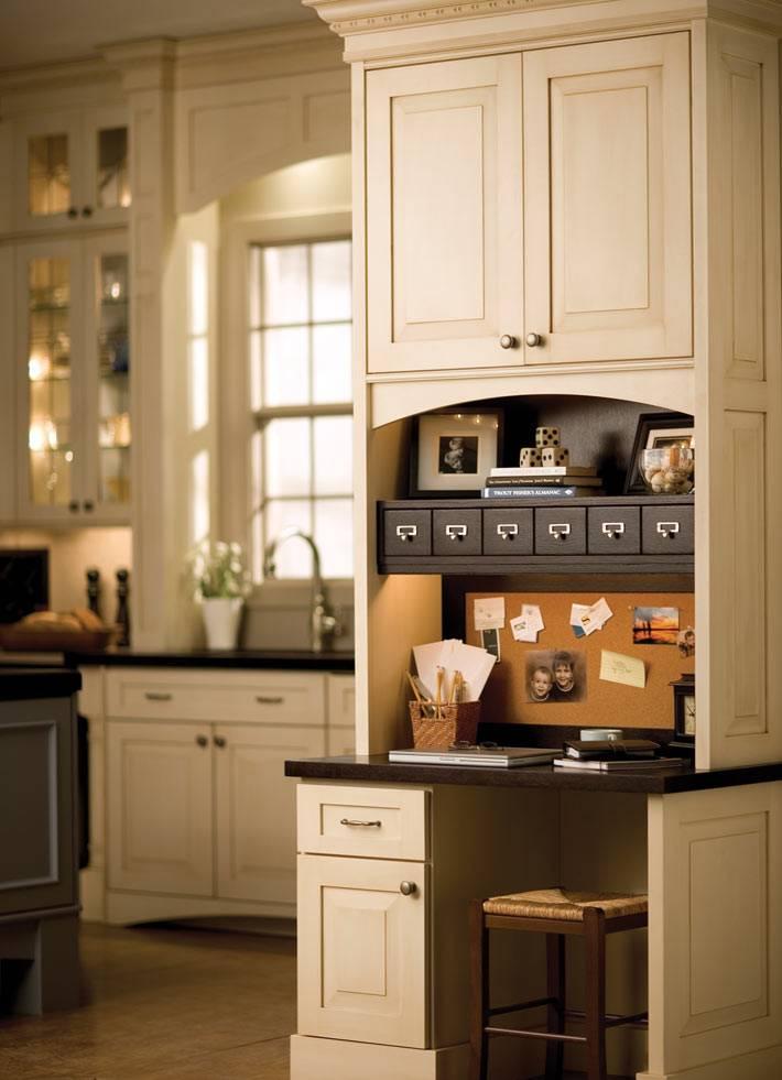 Небольшой рабочий уголок в интерьере кухни фото