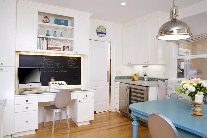 рабочее место с меловой доской в интерьере кухни