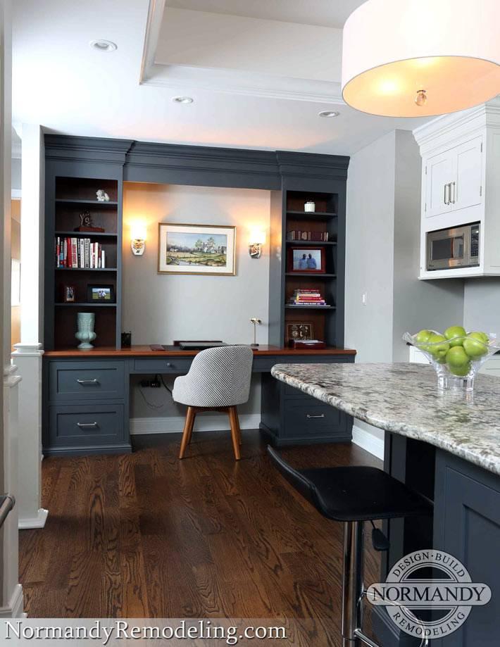 встроенная мебель для рабочего стола на кухне