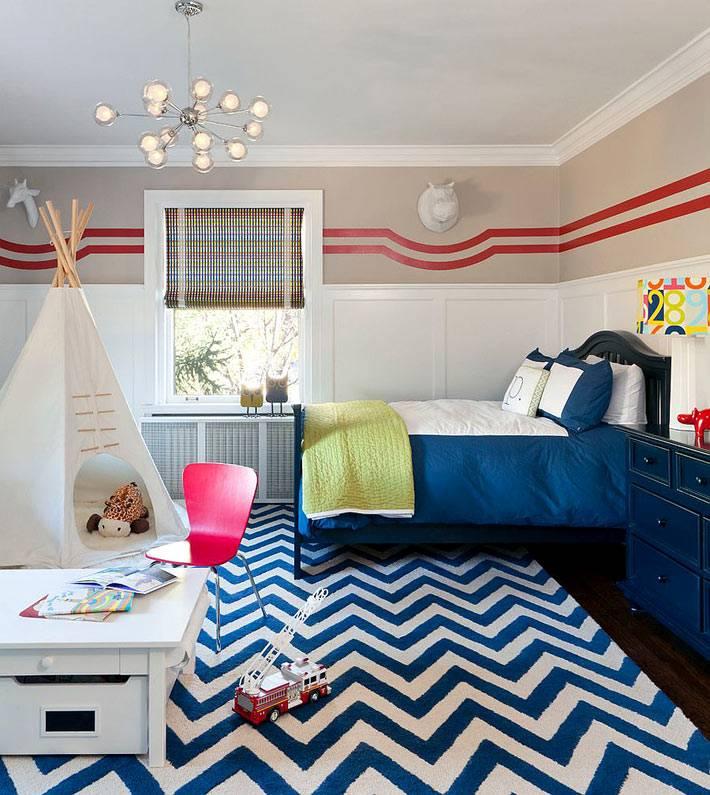 Зигзаг в дизайне интерьера детской комнаты фото
