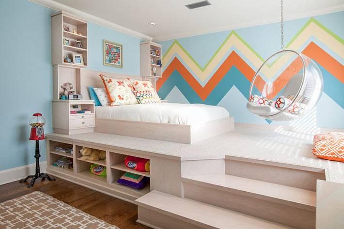 современная детская комната с рисунками зигзаг