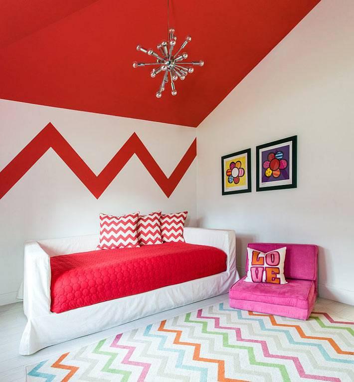 красный зигзаг в дизайне интерьера детской комнаты