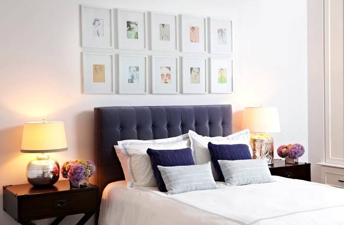 коллекция картин в уютном интерьере спальни фото