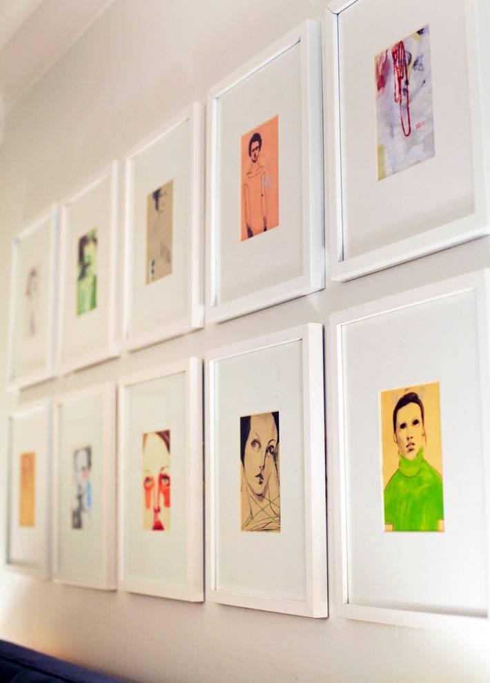 коллаж из картин в интерьере спальни фото