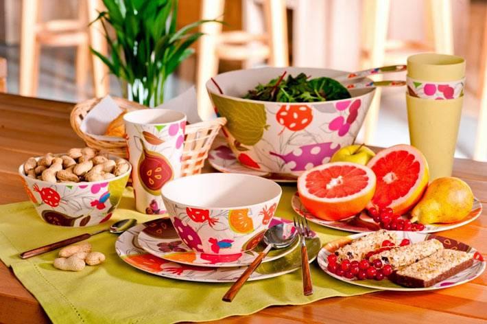 яркая посуда для красивого интерьера кухни
