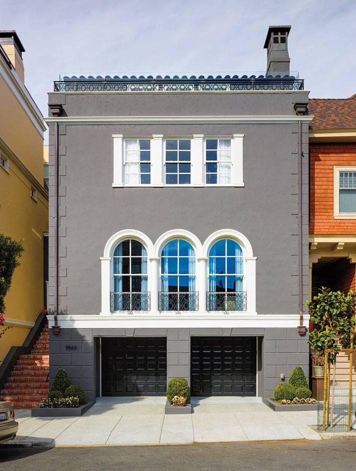 современный серый фасад дома в сан-франциско