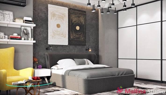 современный дизайн спальни с цеменными стенами