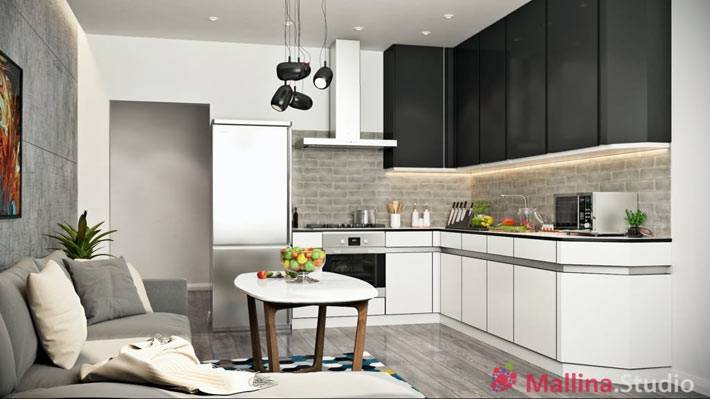 серый цвет в дизайне кухни черной мебелью