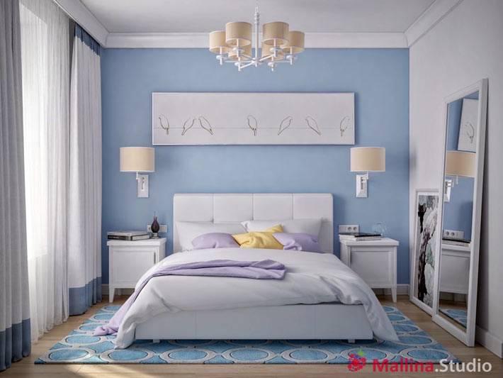 голубой интерьер спальни от Малина Студио