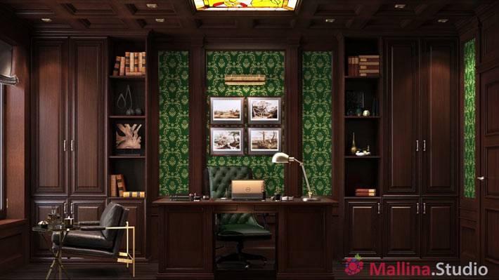 темно-коричневая мебель в интерьере домашнего офиса