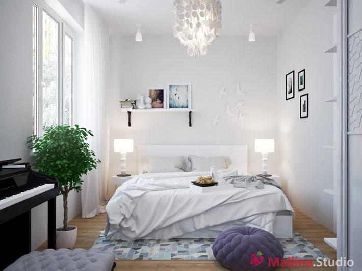 дизайн нежной и воздушной спальни в белом цвете
