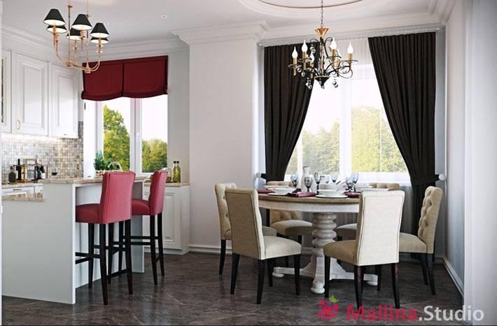 красивый интерьер кухни со столовой зоной