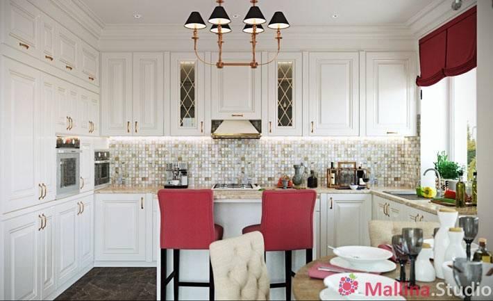 очень красивая кухня белого цвета с малиновыми стульями