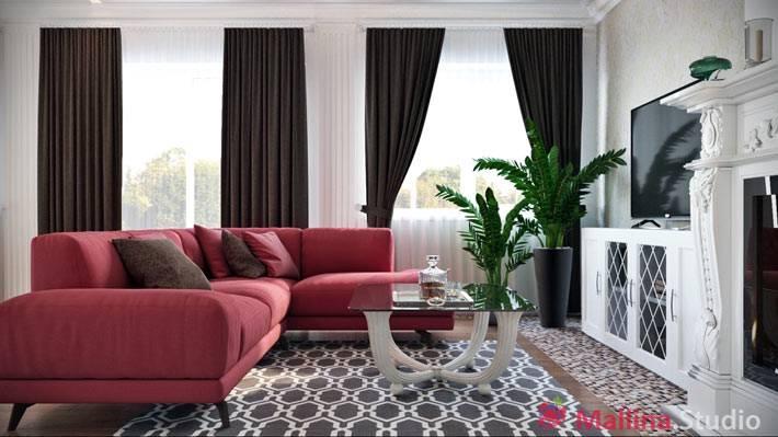 красный диван в интерьере гостиной комнаты