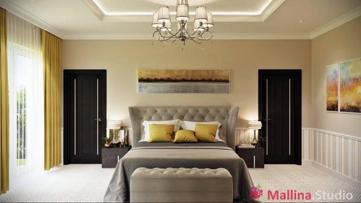 красивый интерьер спальни с элементами желтого цвета