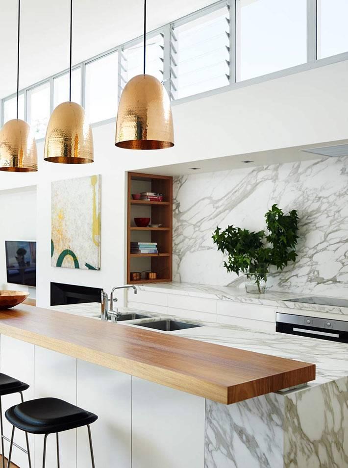 кухонная барная стойка мрамор+дерево фото