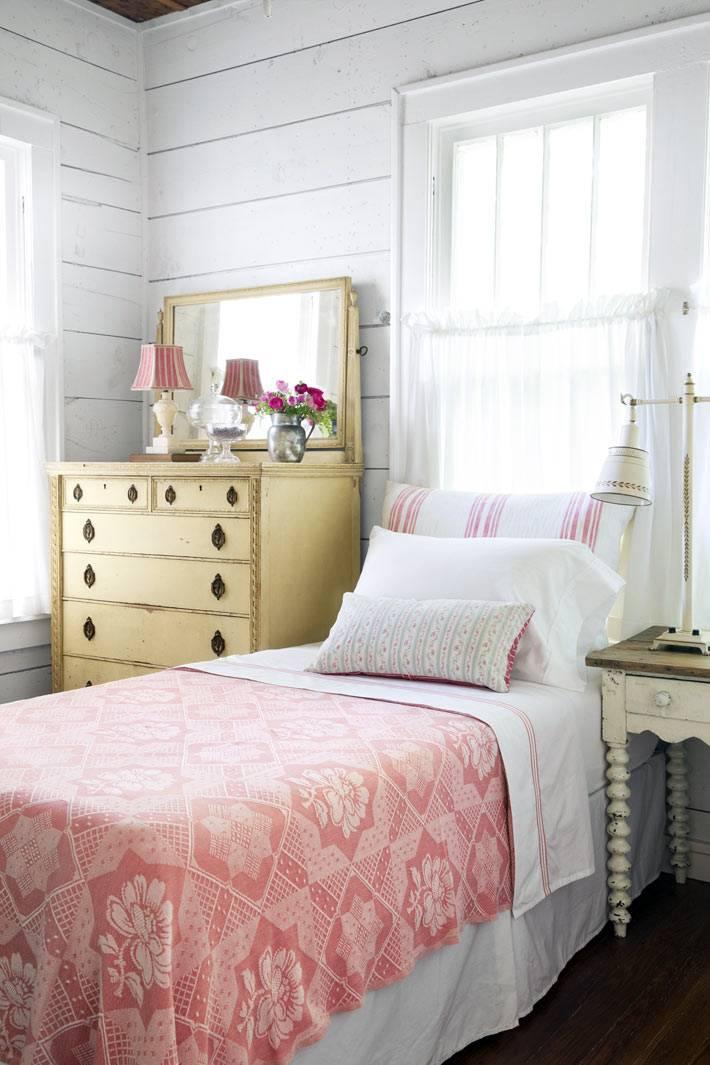 красивый дизайн спальни в стил кантри