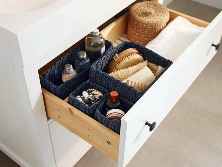 удобные ящики для хранения мелочей в ванной комнате