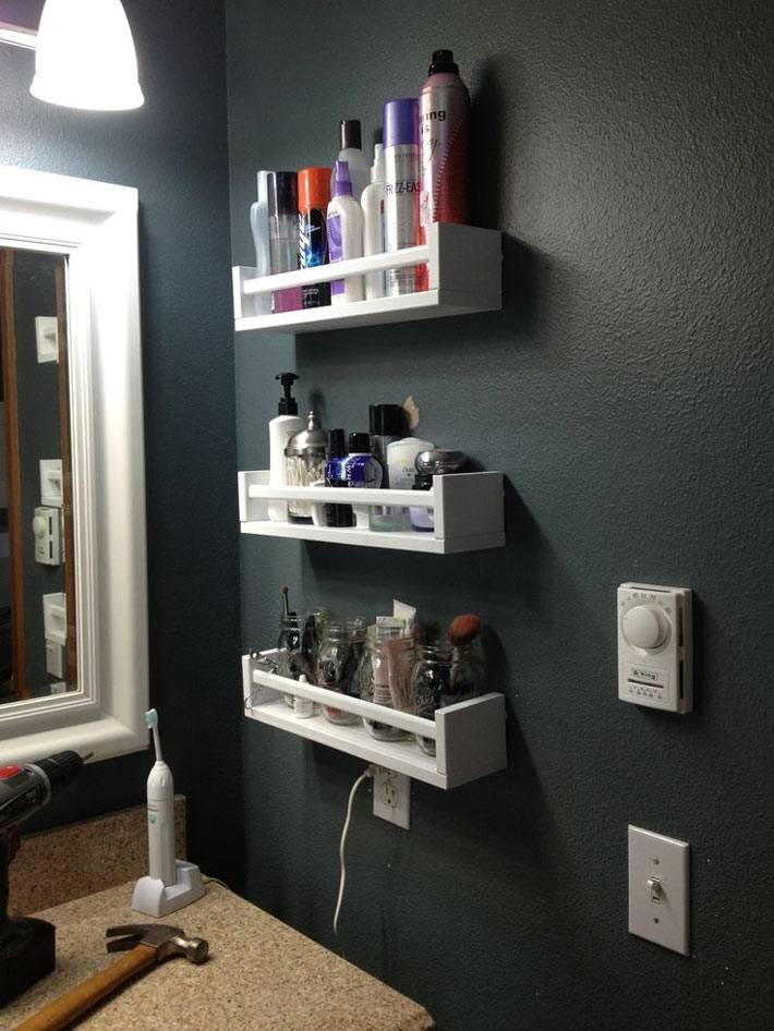 маленькие настенные полочки для хранения в ванной