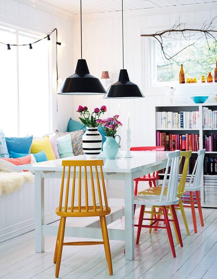 акцент на яркой мебели в интерьере столовой фото