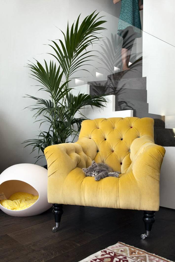 яркое желтое кресло в дизайне интерьера дома
