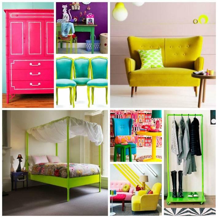 яркая мебель для ярких и смелых интерьеров