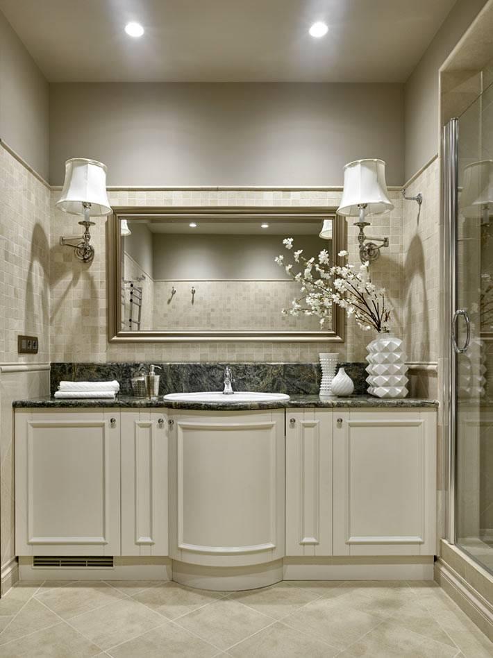 дизайнерский интерьер ванной комнаты с большой тумбой