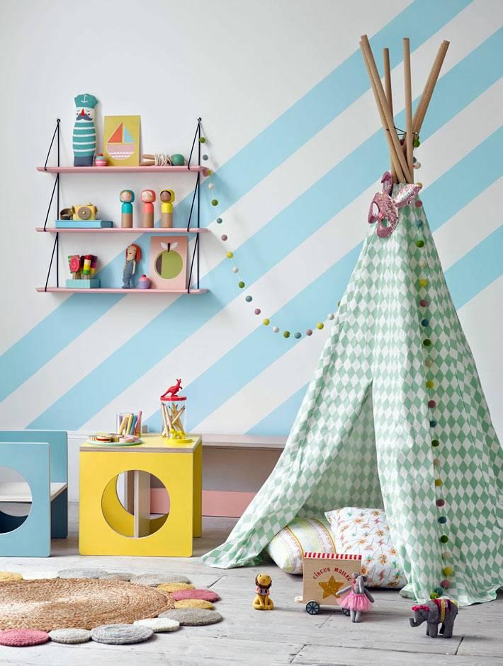 Полоска на стенах и в декоре интерьера детской комнаты фото