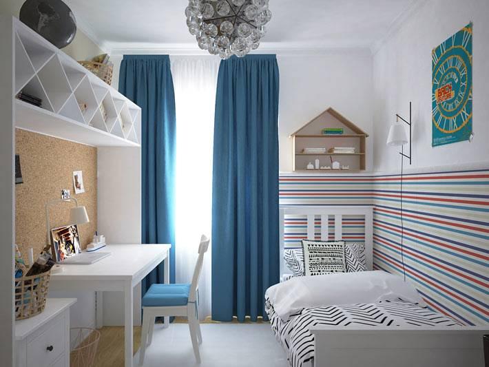 тонкие полоски , зонирующие пространство детской комнаты