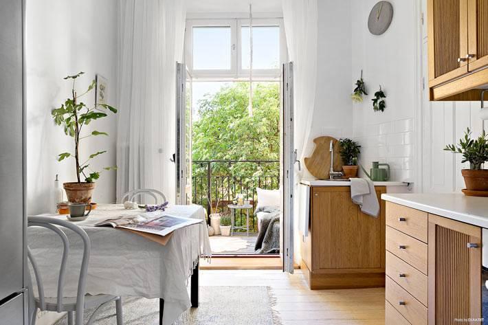 скандинавский стиль на кухне в маленькой квартире