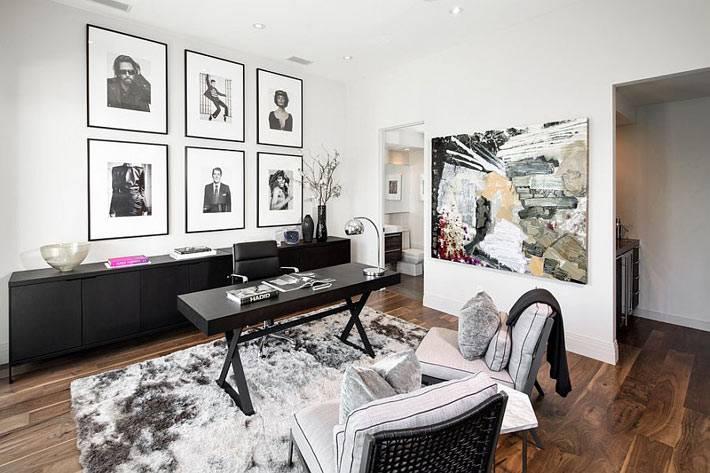 черно-белое офрмление рабочего кабинета фото