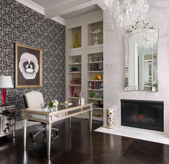 аристократичный дизайн домашнего офиса с черной стеной