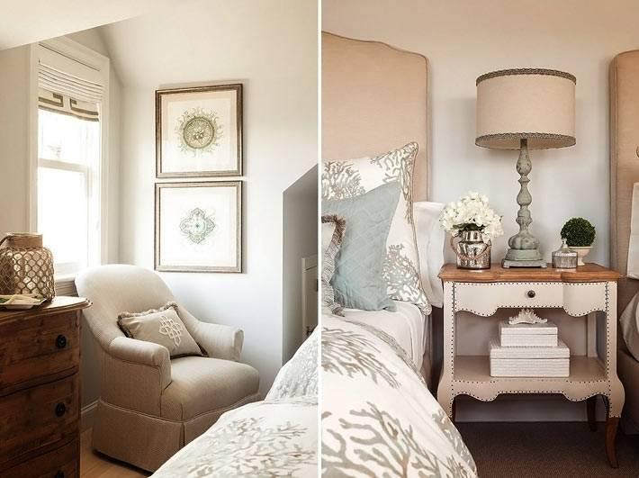 бежевая мягкая мебель в дизайне спальни