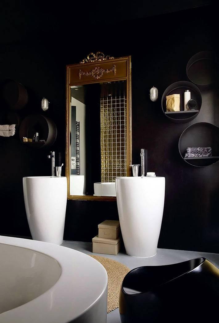 Черный цвет в дизайне интерьера ванной комнаты фото