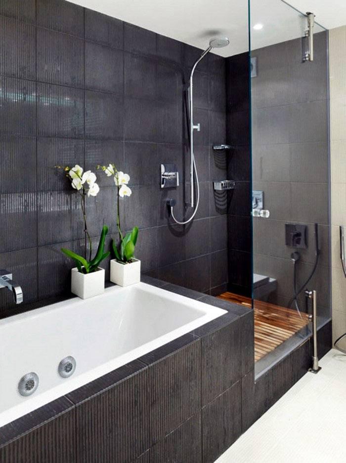 черная кафельная плитка в оформлении ванной комнаты